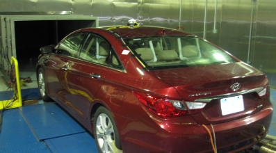 Hyundai car in climate room with CMP11 pyranometer on top